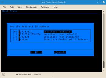 Configurable IP address for hostname redirection.