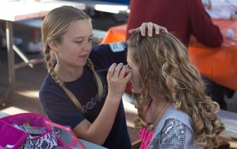Cayman's friend Alexandra does Cayman's makeup before school. I was blown away a 10 year old could do this so well.