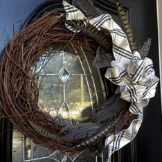 A wreath I made with pheasant feathers.