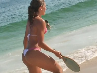The nasty bikini voyeur video with hotly shaped gadget playing with ball on the beach