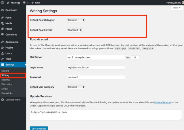 Writing Settings on WordPress