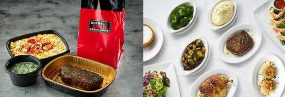 Ruth's Chris Steak House carry-out bag and foods