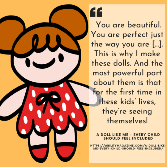 A comic-drawing of a doll wearing a red dress. And text. You are beautiful. You are perfect just the way you are... This is why I make these dolls. And the most powerful part about them is that for the first time in these kids' lives, they're seeing themselves!