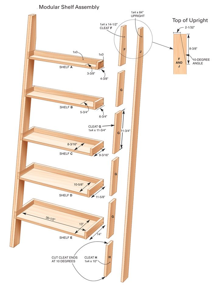 slanted bookshelf plans