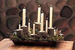 Rustic December candle centerpiece
