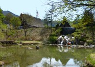 Pond and waterfall in the paid open air museum area