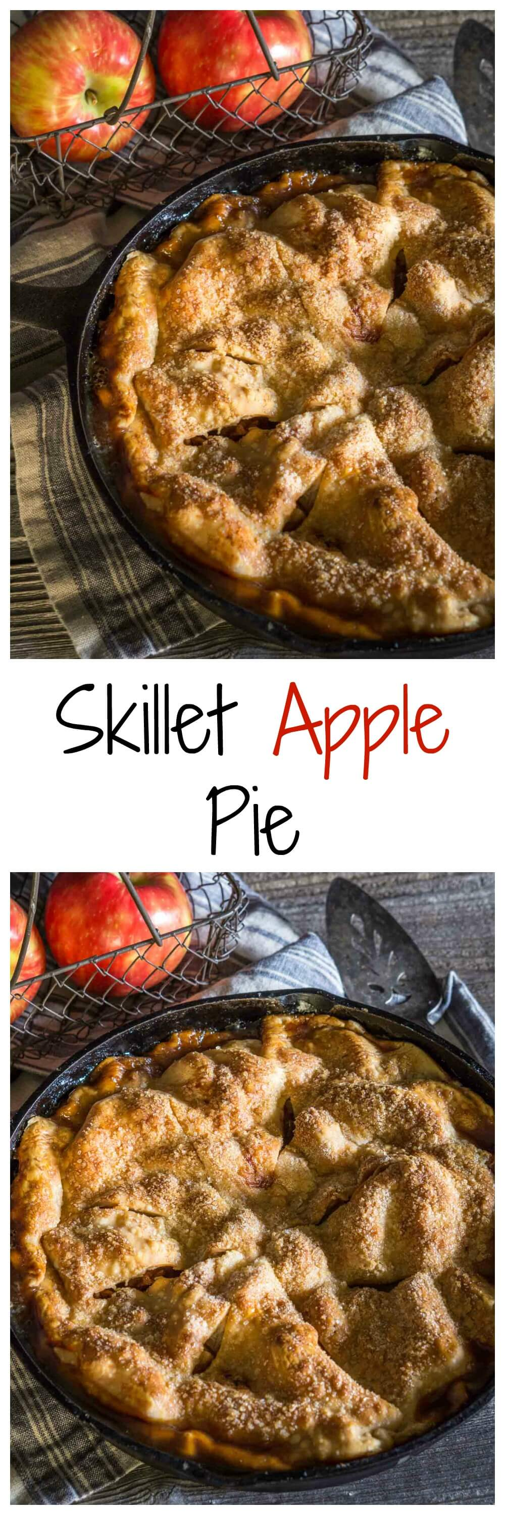 Beautiful rustic Skillet Apple Pie has a buttery crust that's filled with a delicious warm cinnamon-apple filling. - HostessAtHeart.com