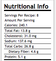 Berry Nut Baked Oatmeal Nutritional Information 8 servings