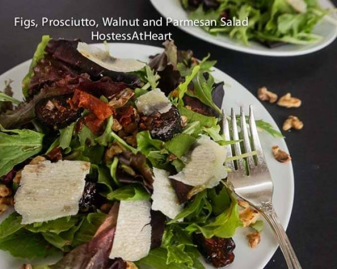 Fig Prosciutto Walnut Parmesan Salad is such an amazing salad that you'll want to make it over and over | HostessAtHeart.com