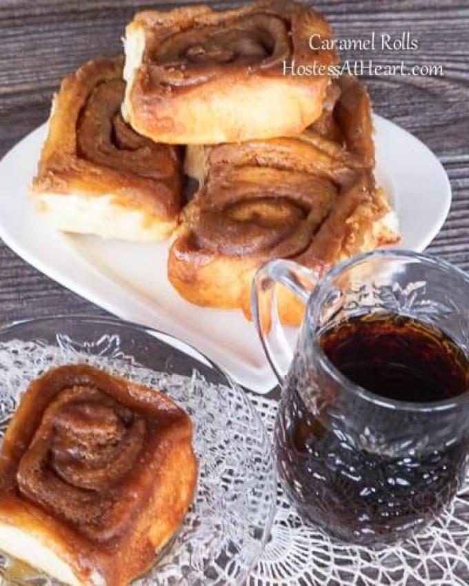 There is nothing like Cinnamon and Caramel Rolls baking in the oven unless they are sitting on a plate in front of you with a slather of butter. | HostessAtHeart.com