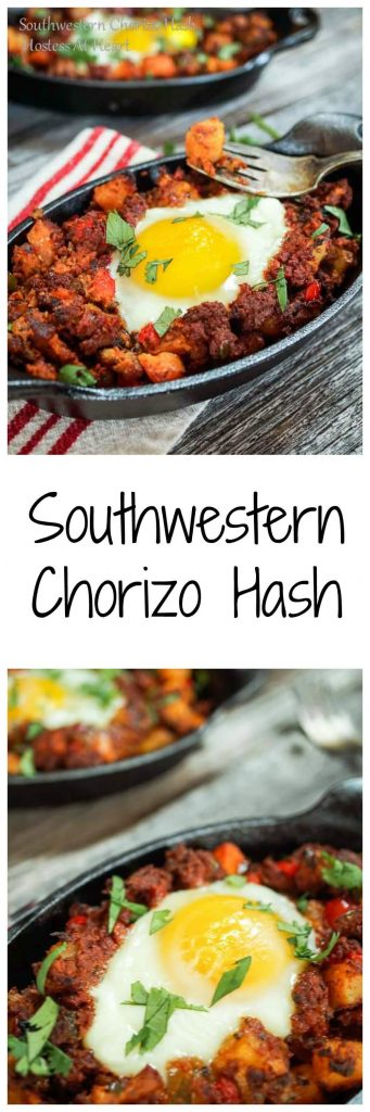 An easy and delicious versatile hash recipe that is perfect for any meal of the day. The jalapeno and chorizo sausage is complimented with a beautiful poached egg. | Hostess At Heart
