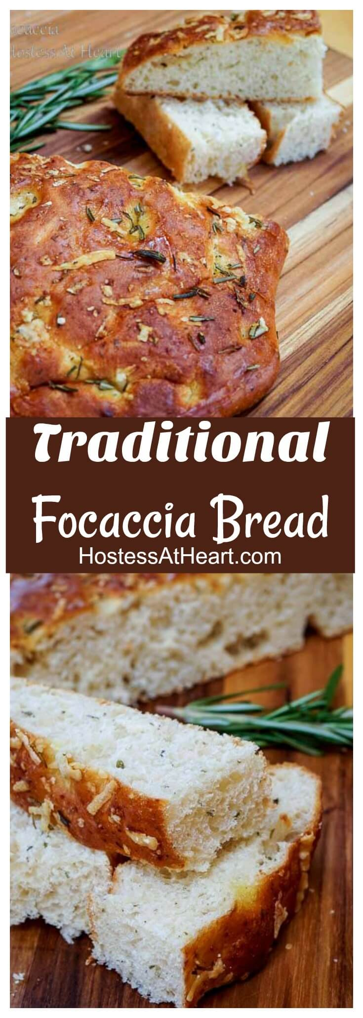 Traditional Focaccia is a great bread that can stand alone or goes great with a meat and cheese tray or a big bowl of pasta. #bread, #breadrecipes, #homemadebread #baking #focaccia