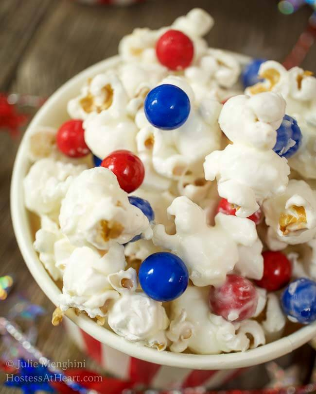 3 Ingredient Candied Popcorn recipe is a quick and easy to prepare snack, that is so versatile that you can customize it for any event. This is a perfect snack for any occasion! | HostessAtHeart.com