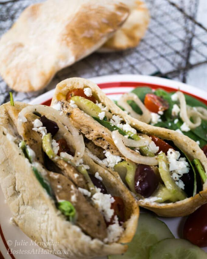 A quick and easy delicious Chicken Gyro recipe. You can either stuff the ingredients into a pita or make a healthy Greek salad.   Hostess At Heart