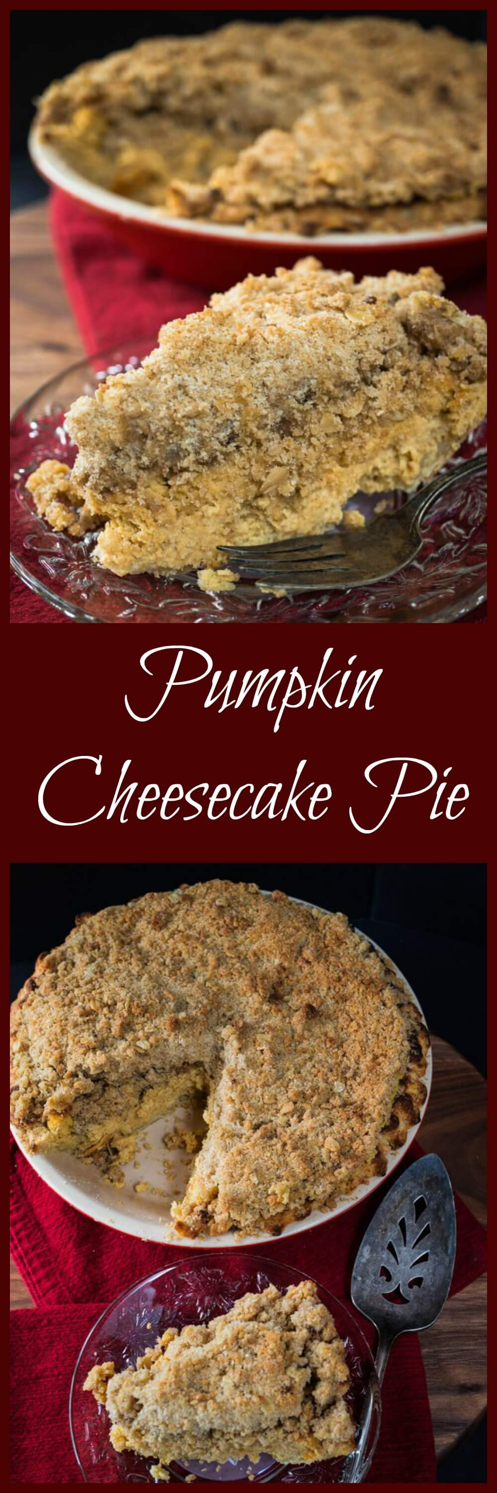 This rich and creamy Pumpkin Cheesecake Pie sits on a buttery homemade crust and topped with a mouth-watering buttery brown sugar crumble. This is one special pie perfect for the holidays. | HostessAtHeart.com