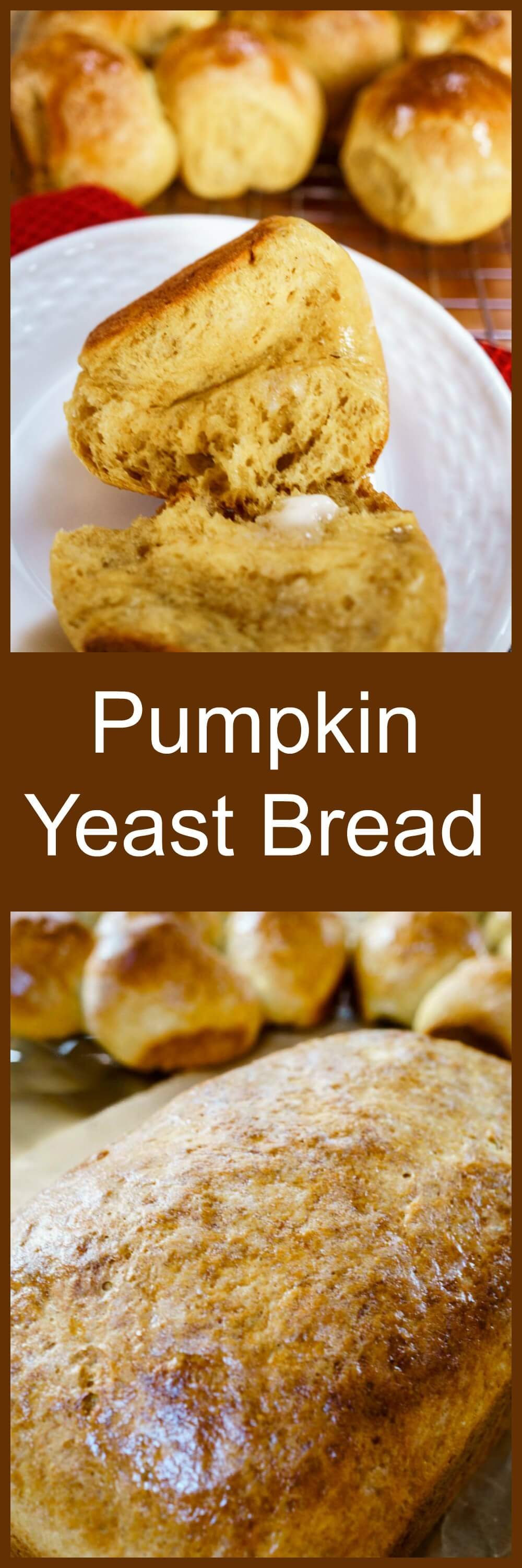 Light and delicious Pumpkin Yeast Bread makes a beautiful addition to any meal. This recipe is easy, versatile, and perfect for your holiday table. You can make delicious loaves, rolls or both! #Recipe #BreadBakers #Homemade