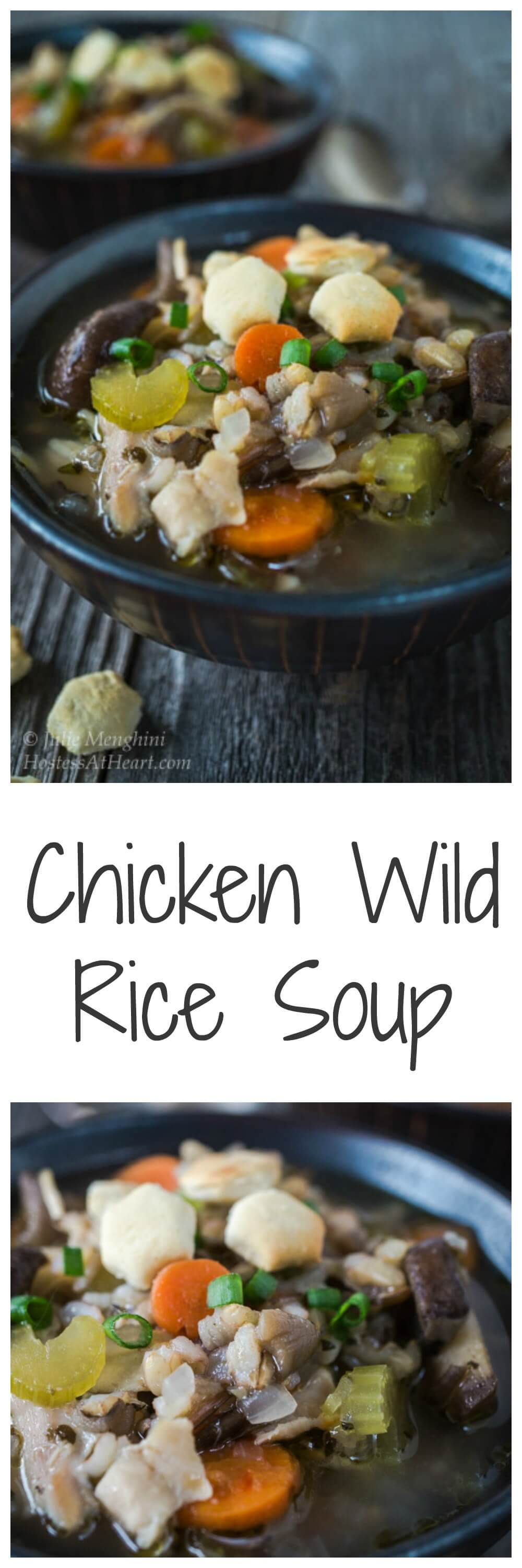 A delicious Easy and Healthy Chicken Wild Rice soup that is low fat and packed with good for you ingredients. It's perfect for a chilly day andan easy wayto put a healthy meal on the table. | HostessAtHearts.com | Comfort Food | Homemade Soup | Healthy Food
