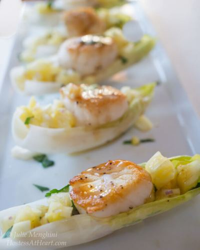 Scallops with Pineapple Salsa and Plum Wasabi Drizzle   Scallops with Pineapple Salsa and Plum Wasabi Drizzle make an impressive appetizer. No one needs to know how quick and easy it is to make.