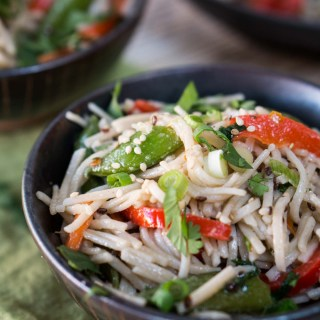 This Asian Inspired Soba Noodle Salad recipe is a great recipe to take to a potluck or for lunch at work. Add chicken or shrimp and you have a quick and delicious dinner. HostessAtHeart.com