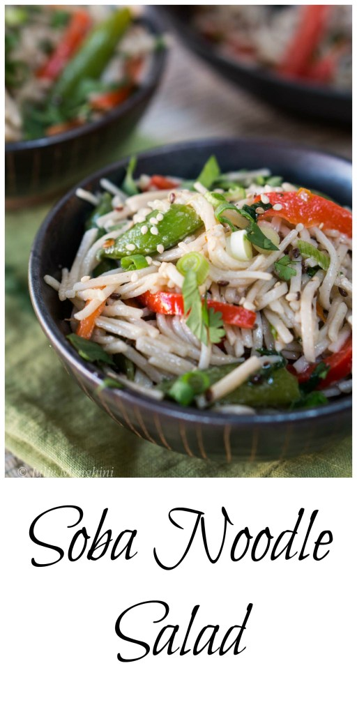 This Asian Inspired Soba Noodle Salad recipe is perfect to take to a potluck or for lunch at work. Add chicken or shrimp and you have a quick and delicious dinner. HostessAtHeart.com