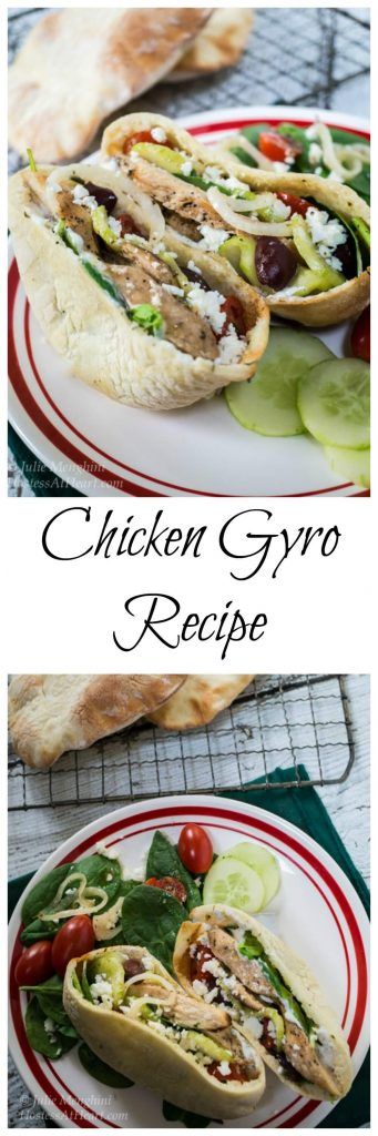 Chicken Gyros are delicious in a pita for lunch or dinner and can just as easily be made into a salad   Hostess At Heart