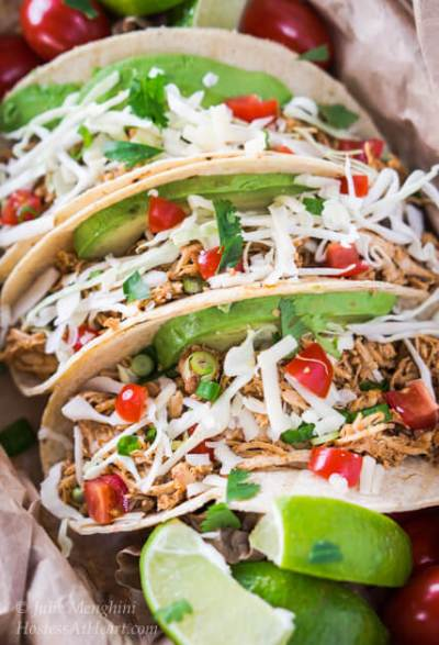 Crockpot Chipotle Chicken Tacos take the guesswork out of what's for dinner. Everyone will love this simple yet delicious recipe | HostessAtHeart.com