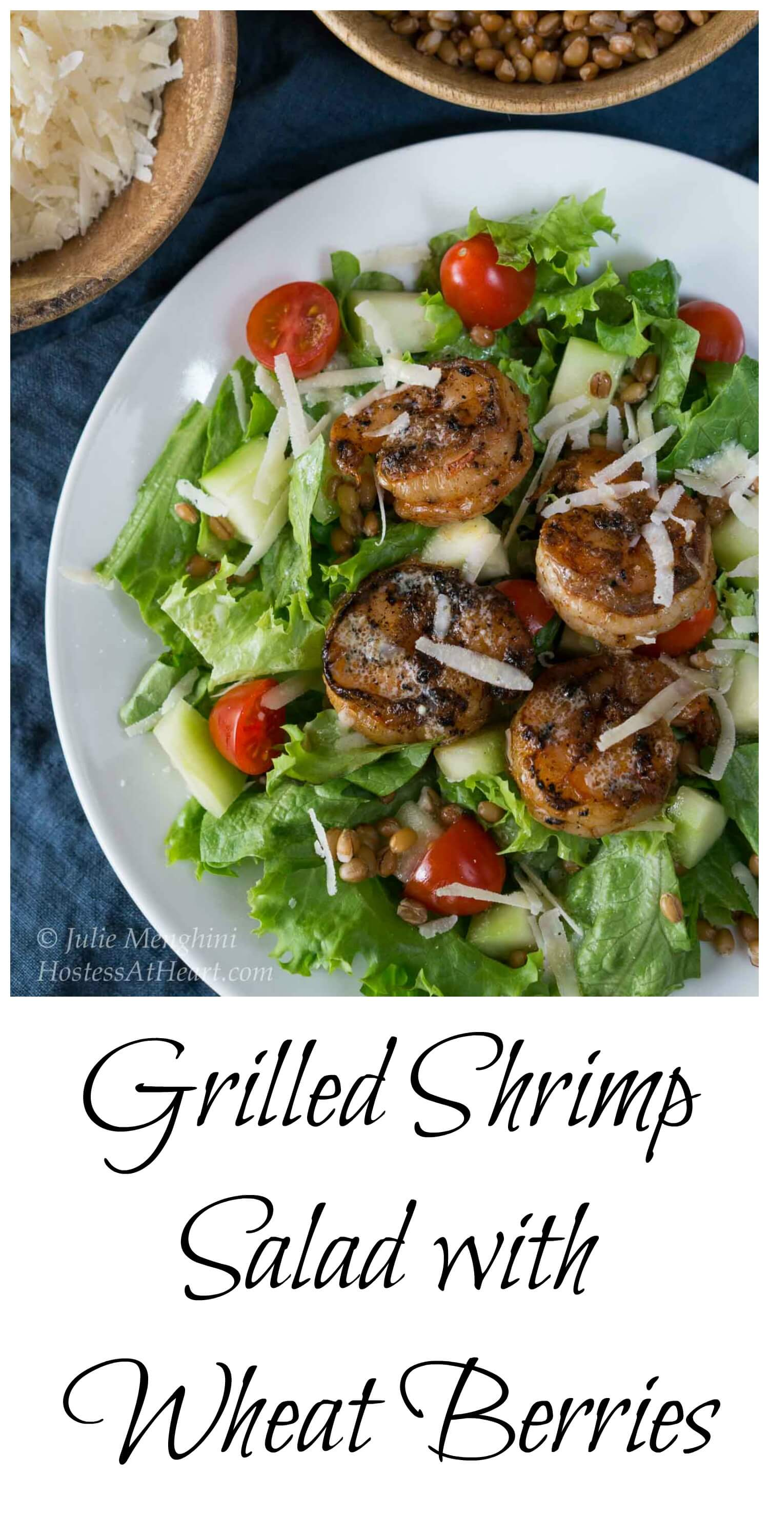 Grilled Shrimp Salad with Wheat Berries will not leave you hungry. It's filling, good for you and delicious. #healthyfood #whatsfordinner #Shrimp #shrimpsalad   Healthy Salad   Salad with shrimp   healthy salad