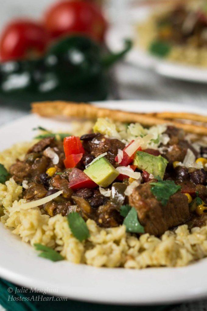 Poblano Pork Stew over Tomatillo Rice