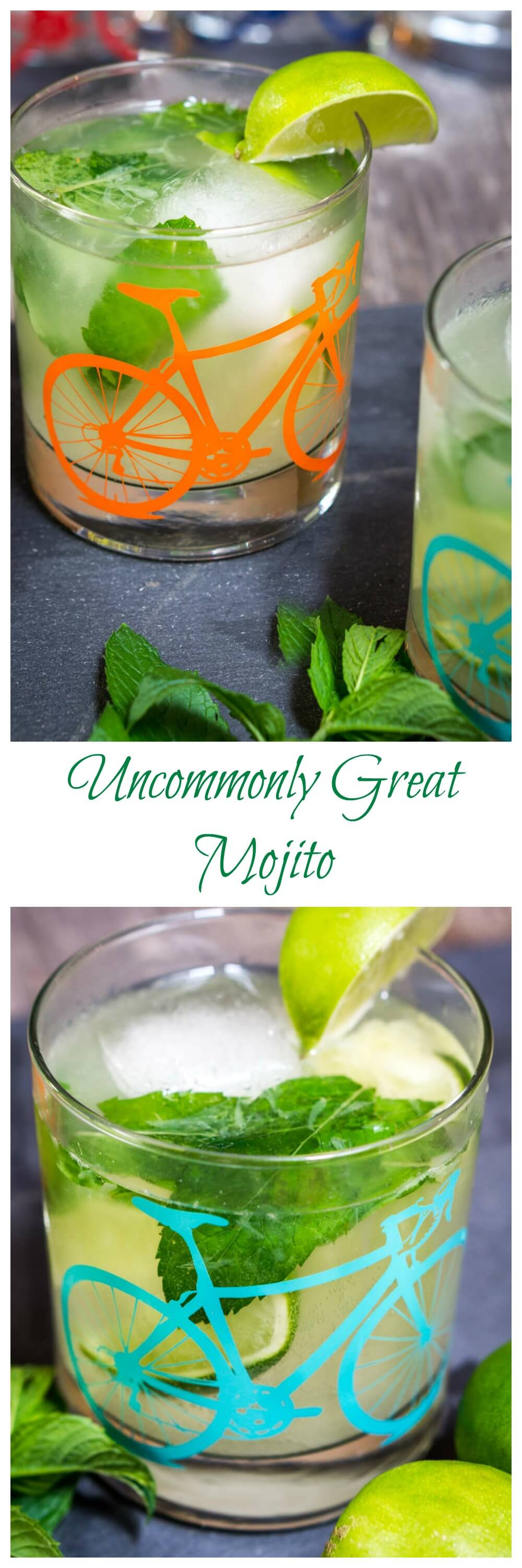 Uncommonly Great Mojitos are delicious on a hot day and taste even better in a bicycle glass from Uncommon Goods! How about mixing up a couple tonight? #Mojito #Cocktail #drinks #rum | Homemade cocktail | Mojito cocktail | mixed drink