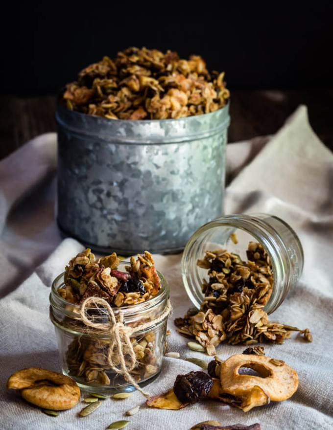 Honey Harvest Granola with Dried Fruit tastes like a fall orchard. It's full of fiber and good for you ingredients. Best of all, it's delicious | HostessAtHeart.com
