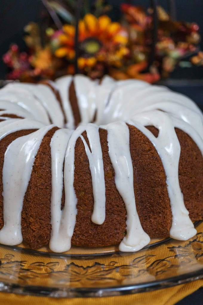 Pumpkin Spice Buttermilk Cake with a warm Cinnamon Cream Cheese icing is perfect for Fall entertaining, Holidays or any occasion   Hostess At Heart.com