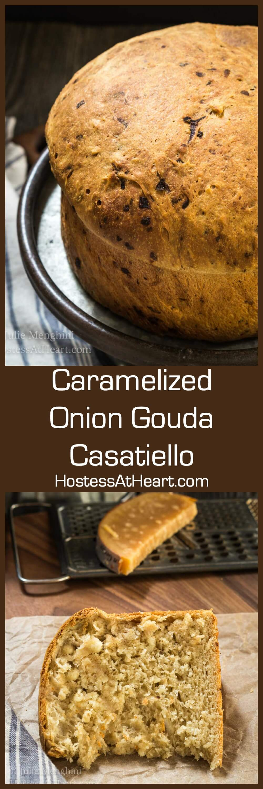 Caramelized Onion Gouda Casatiello is a soft adaption of an Italian Brioche. This loaf is loaded with flavor with bits of caramelized onion and gouda cheese. | HostessAtHeart.com | #homemadebread #breadbakers #breadrecipes #Italianbreadrecipe | rustic Italian bread recipe, homemade bread with yeast, #cheesybread