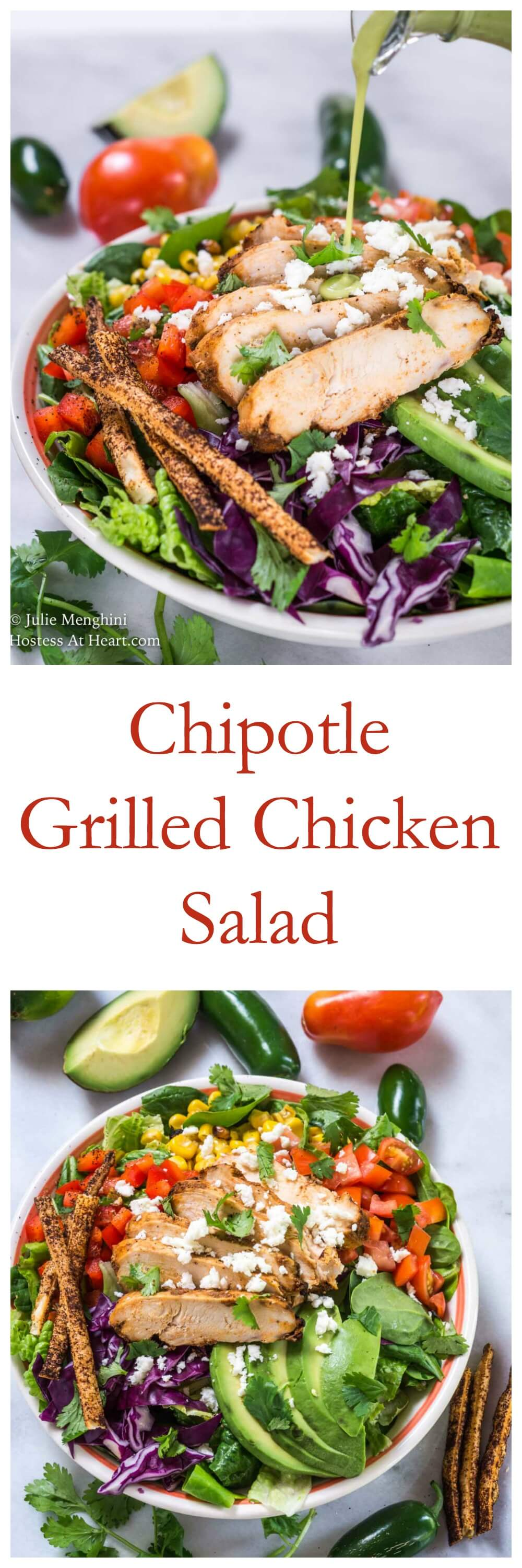 Chipotle Grilled Chicken salad has a Honey Jalapeno Vinaigrette that makes this salad sweet an spicy.  It's full of colors, textures, and delicious flavors. #easysaladrecipe, #freshsaladrecipe, #healthy, #salad, #cabbage #chipotlesalad