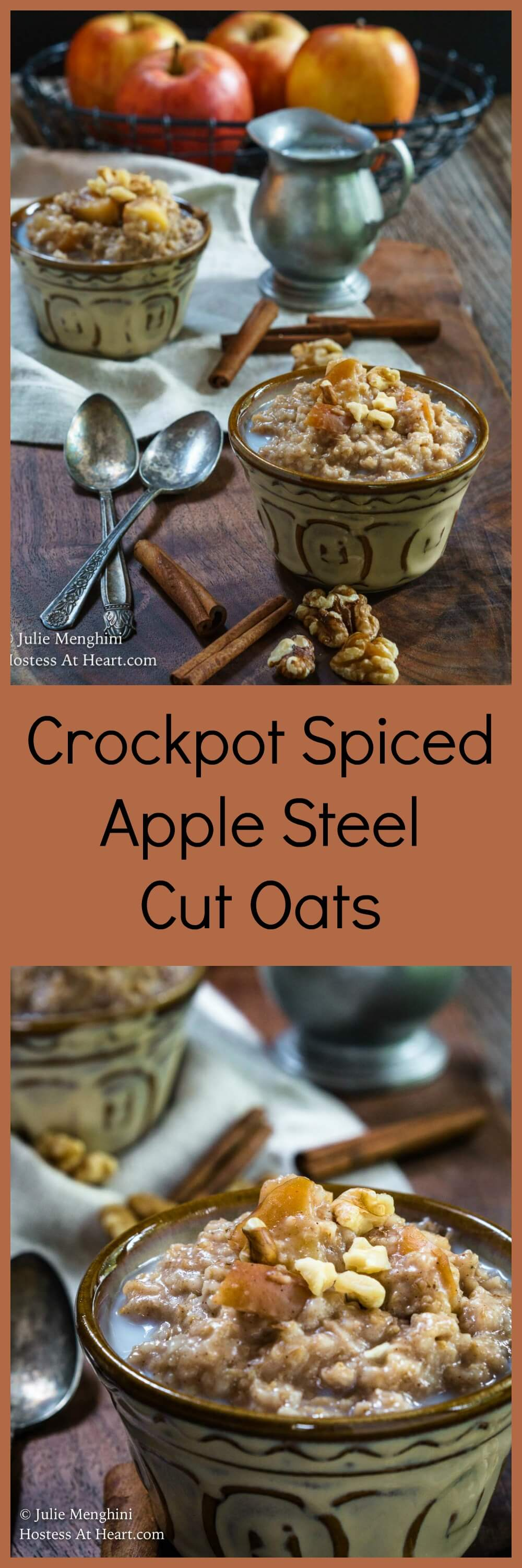 Crockpot Spiced Apple Steel Cut Oats is delicious, healthy, and will keep you satisfied until lunch and it's like having apple pie for breakfast! | HostessAtHeart.com