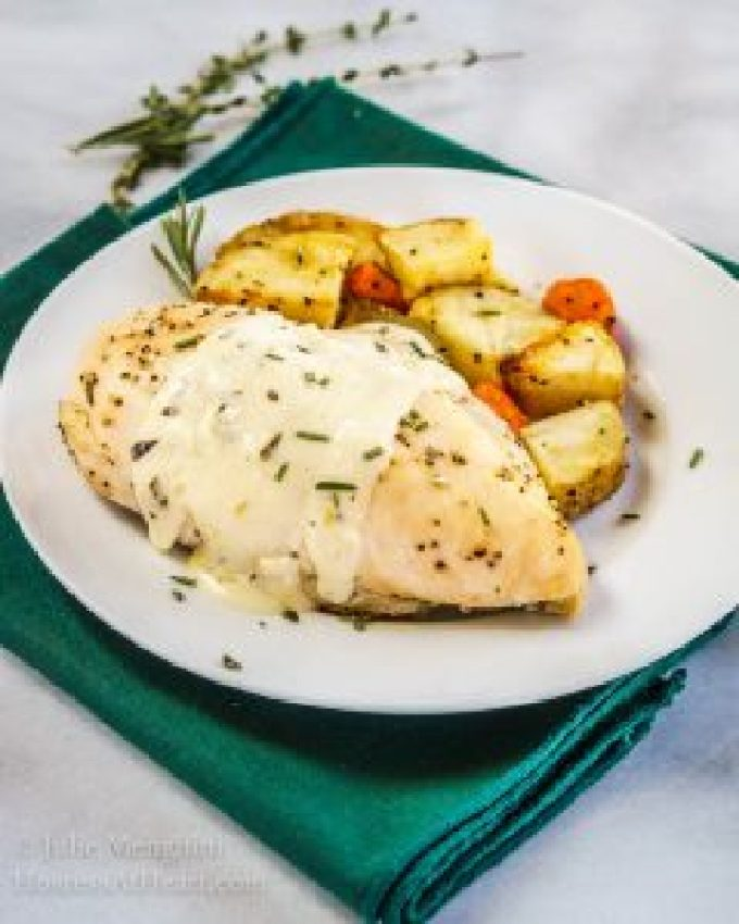 Lemon Herb Chicken with Roasted potatoes is a complete, delicious meal. Even though it cooks in just 30 minutes, this sauce will have people thinking it took all day.   HostessAtHeart.com