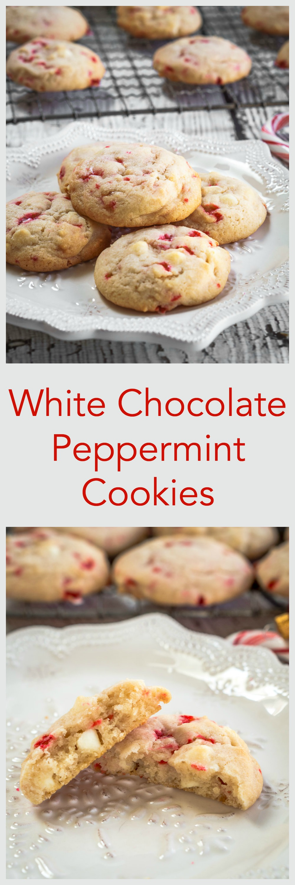 White Chocolate Peppermint cookies are soft, tender and delicious. They are quick and easy to make and perfect for enjoying with a friend over a hot chocolate | HostessAtHeart.com #cookies, #cookie #baking, #dessertrecipes #cookierecipe