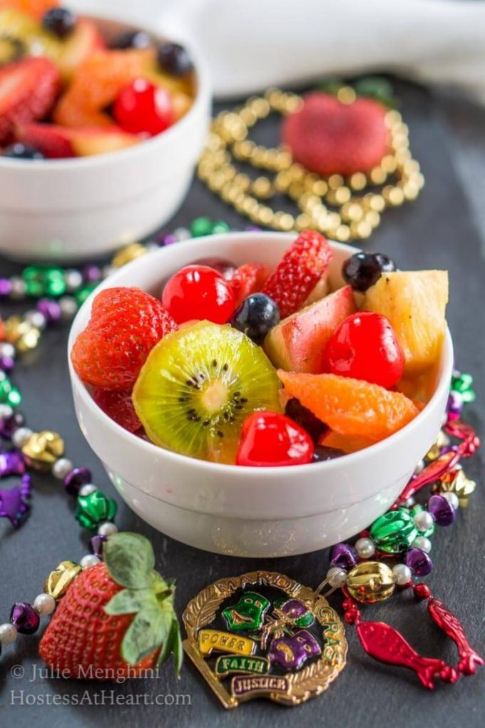 A Hurricane Fresh Fruit Salad makes the perfect accompaniment to your Mardi Gras party or any meal worth celebrating!   HostessAtHeart.com