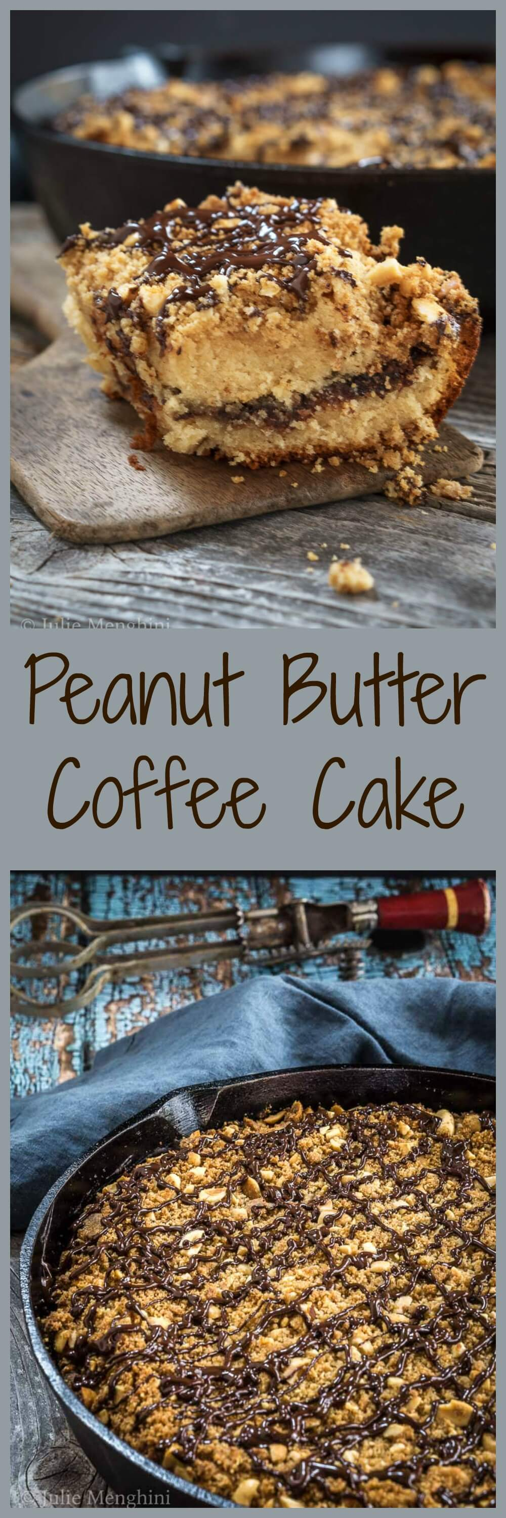 Peanut Butter Coffee Cake is a heavenly mixture of chocolate, peanut butter, and Nutella all under a crunchy layer of streusel topping.  | HostessAtHeart.com #cake #dessert #chocolatedessert