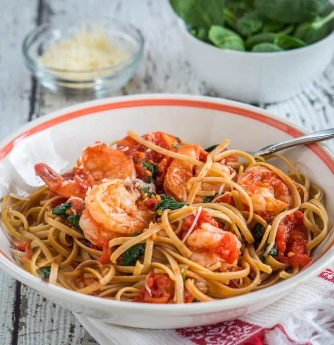 Healthy Shrimp Fettuccine can be on your table in 10 minutes. This recipe proves that you can put a dish on your table that is quick, healthy and delicious. | HostessAtHeart.com