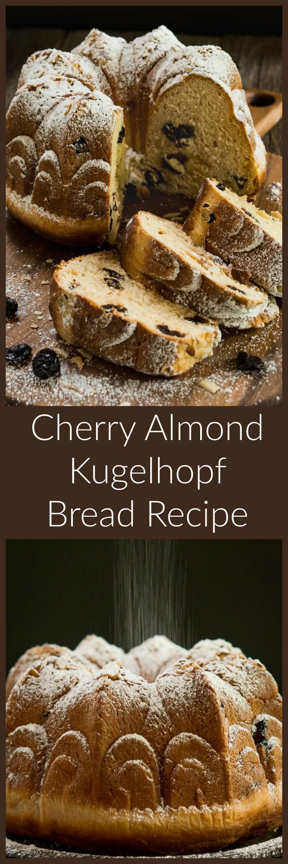 Festive Cherry Almond Kugelhopf Bread is soft and tender with a beautiful cherry aroma. HostessAtHeart.com