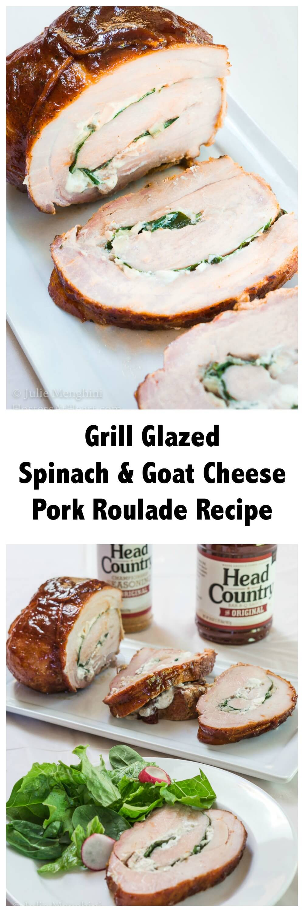 Delicious Grill Glazed Spinach and Goat Cheese Pork Roulade Recipe is a perfect show-stopper to serve to family and friends! #ad | HostessAtHeart.com