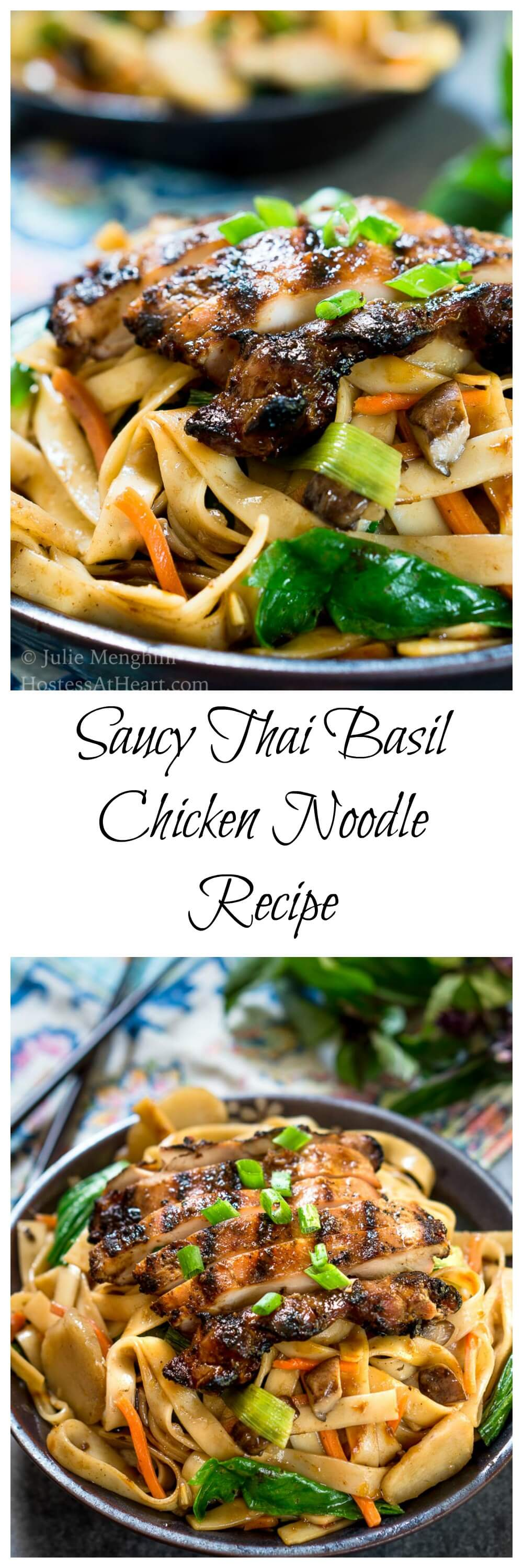 Saucy Thai Basil Chicken Noodle Bowl Recipe is a creamy blend of Asian flavors.  It's a little bit sweet and spicy and a whole bunch delicious! | HostessAtHeart.com | easy Thai basil | easy dinner recipes | chicken #healthyfood #maindish