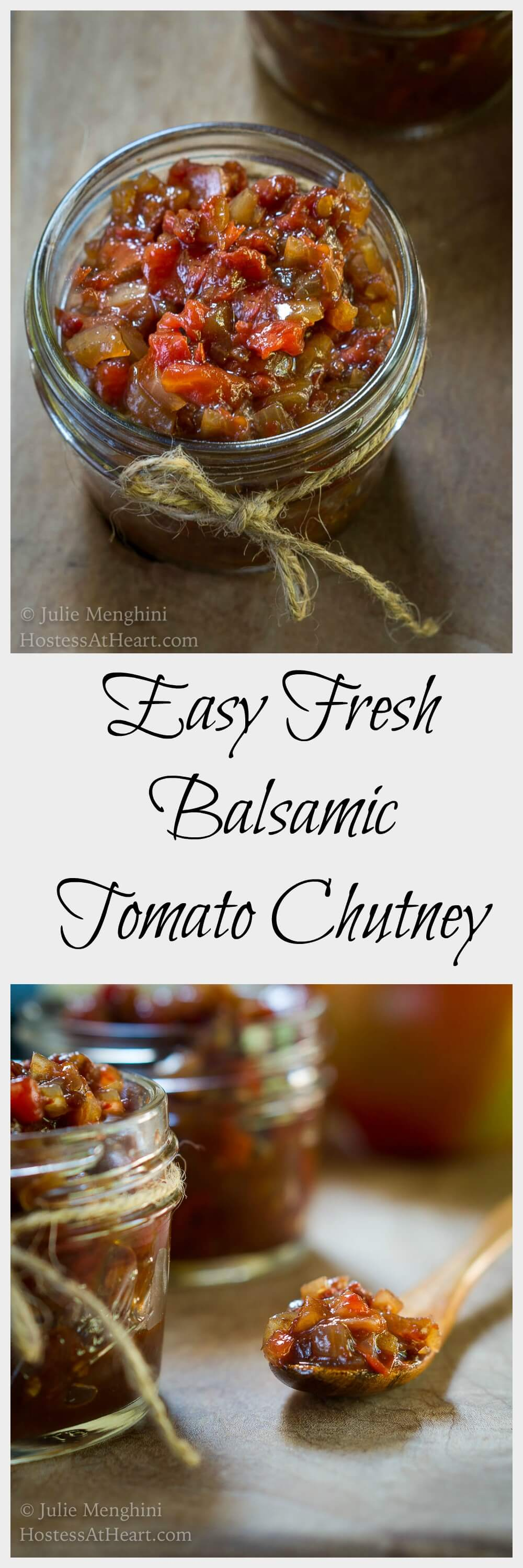 This Easy Fresh Balsamic Tomato Chutney recipe tastes like Summer in a bowl. It's perfect as an appetizer or as a sauce over grilled seafood or chicken. | HostessAtHeart.com