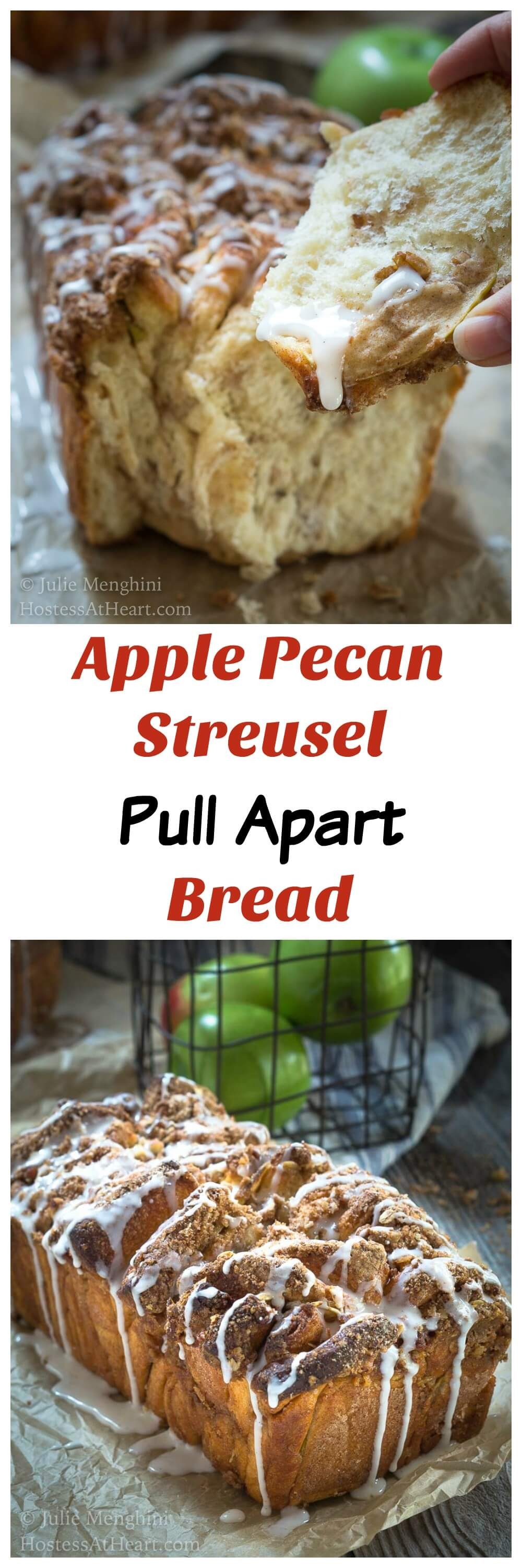 Apple Pecan Streusel Pull Apart Bread makes a delicious addition to your breakfast or with a cup of soup.  It's a no-fuss way to get the taste of a cinnamon roll without all of the work. | HostessAtHeart.com #recipe #homebaked #homebakedbread #baking #BreadBakers