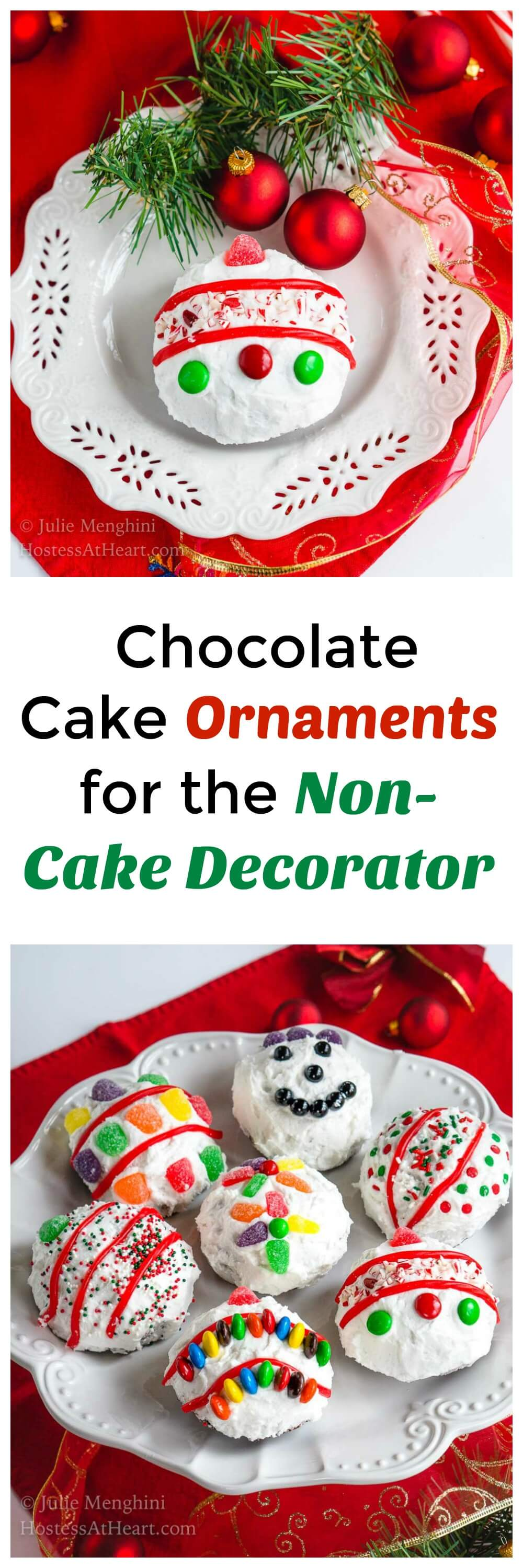 If you aren't into cake decorating but love the results, these Chocolate Cake Ornaments are for you!  They're also fun for the Kiddos to help make. #HolidayDesserts #ChocolateDessert | Chocolate Cupcakes | Cake Decorating | Cooking for kids
