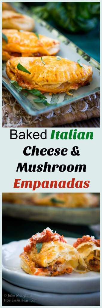 This Baked Italian Cheese Mushroom Empanada recipe makes an amazing appetizer or delicious meal.  They're quick, easy, and everyone's going to love them.