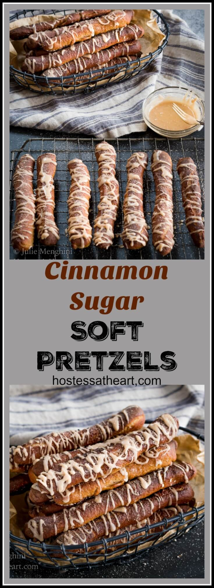 Cinnamon Sugar Soft Pretzel recipe is a made with a pretzel dough slightly sweetened with brown sugar and warm cinnamon and finished with a cinnamon glaze drizzle. They're the perfect finger food! #BreadBakers #Homemade #ComfortFood #Appetizers   Appetizers,