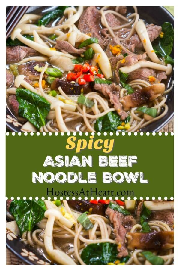 This Spicy Asian Beef Noodle Bowl is a healthy flavor bomb.  It's chock full of good-for-you ingredients and cooks in 6 minutes! #AsianRecipe #Beef #Weeknightmeal | Beef Noodle Bowl | Thai Recipe | Healthy Family Recipes
