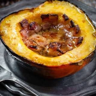 Baked Acorn Squash with Bacon and Brown Sugar