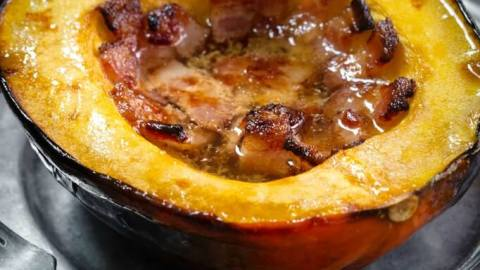 Baked Acorn Squash With Bacon And Brown Sugar Hostess At Heart